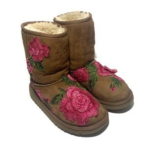 Ugg Chestnut Brown Pink Floral Embroidered Boots 3